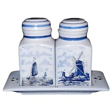 Vintage Delft Blue Hand Painted Tea and Coffee Canisters made in Holland