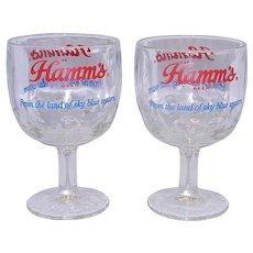 VINTAGE 1960's Hamm's Beer 6 Inch Goblets