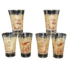 Vintage Dr. Pepper Glass Spirit of St Louis, Babe Ruth, Roaring Twenties Fluted /Flared Tumblers