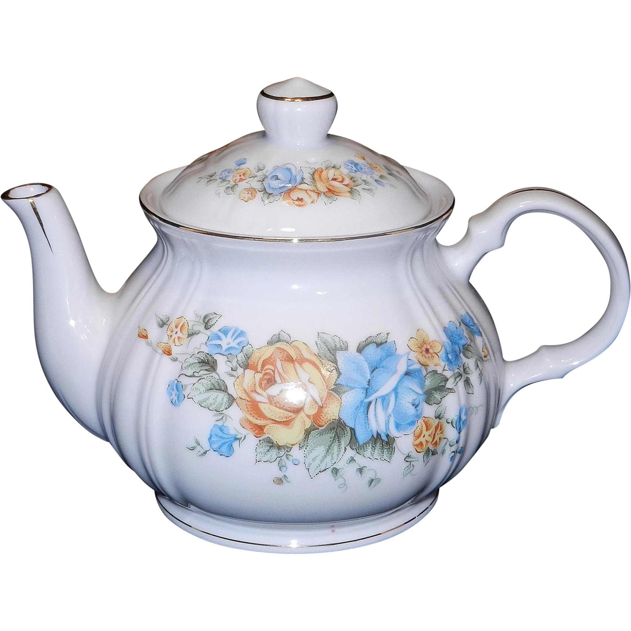Vintage teapot screenprinted with lady Josephine and flowers