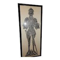 Vintage Brass Rubbing from England of a Knight