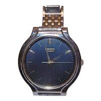 Vintage SEIKO Watch V701-1K29 109763 Black Face Unisex Quartz Stainless Steel Strap