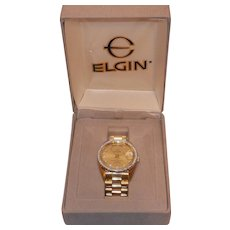 Vintage Elgin Diamond Day Date Watch-Water Resistant to 100 ft