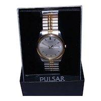 Pulsar Mens Day Date Quartz Watch VX33-0AB0 Two Tone Expansion Band NIB