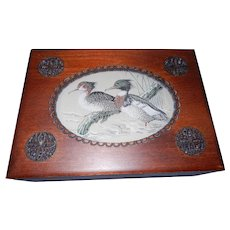 Vintage J & J Cash Ltd. Coventry, England Woven Duck Picture and Wood Card Box with Storage