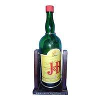Vintage Justerini & Brooks Ltd J&B Scotch Whiskey One Gallon Wooden Swing Decanter