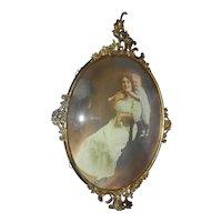 Antique Convex Bubble Glass & Metal Scrolled Frame - Art Nouveau Victorian Style
