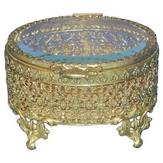 Vintage Ormolu Oval Jewelry Casket or Trinket Box with Beveled Glass