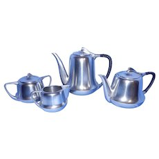 Vintage Metawa Holland Real Pewter Etain Pur Coffee Pot, Teapot, Sugar and Creamer