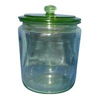 Vintage Green Depression Glass Apothecary Vanity Jar