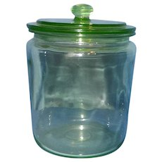 Vintage Green Depression Glass Apothecary Vanity Jar