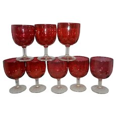 Vintage Set of 8 Bartlett Collins Thumbprint Cranberry Flashed Water/Tea Goblets