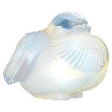 "Vintage Sabino Art Glass Opalescent Crystal "" Oiseau Frileux"" Nesting Bird"