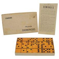 Vintage Puremco 616 Bakelite Butterscotch Standard Dominoes