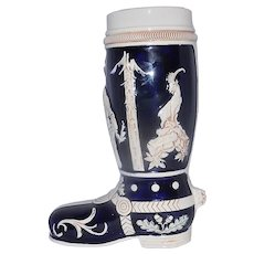 Vintage Cobalt Blue and Beige Ceramic Beer Boot