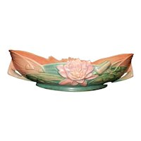 Roseville Pottery Water Lily Brown Console Bowl 443-12