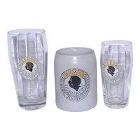 Vintage set of Freiherrlich von Tucher sche Brauerei Beer Glasses and Stoneware Beer Mug