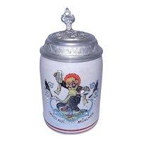 Vintage Stoneware Stein Beer Maid with Gruss Aus München with Kunst Gibt's Bier Allhier on lid