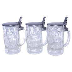 Vintage Glass Steins with Dimples and a Crown with SG Backstamp Fritz Kripl Hersbruck Pewter Lid