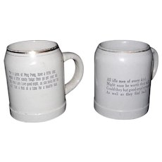 Vintage Pair of Stoneware Beer Steins with Funny Sayings