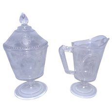 Antique Victorian Richards & Hartley Guardian Angel, Venus and Cupid EAPG Flint Glass Sugar and Creamer 1875-84