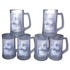 Vintage 1995 Coca Cola Polar Bear Frosted Mug Set