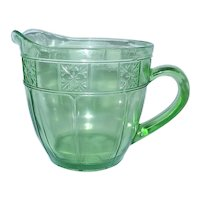 Vintage Doric Uranium Depression Glass 36 oz. Pitcher