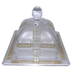 Square Glass Lidded Butter Dish with Gold Crosses