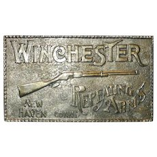 Vintage Winchester Repeating Arms Solid Brass Lewis Buckles Chicago Belt Buckle