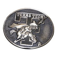 Vintage Texas Tech OrnaMetal Castings Bryan Texas Solid Brass Red Raider Mascot Belt Buckle