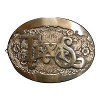 Vintage Award Design Medals Solid Brass Texas Belt Buckle