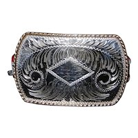 Vintage Comstock Silversmiths German Silver Hand Engraved Belt Buckle