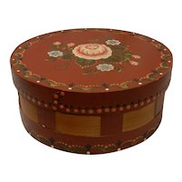 Vintage 10 inch Folk Art Wood Storage Box