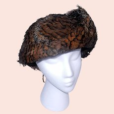 """Vintage Geo. W. Bollman Co. Inc, """"Excello,"""" 100% Wool, Pheasant Feather Covered Lady's Hat."""