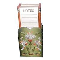 Vintage Folk Art Note Pad Holder & Pencils
