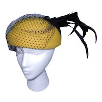 Vintage Michael Howard Mustard Color 100% Wool Hat with Feathers