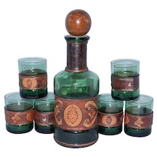 Vintage Green Italian Decanter and 6 Glasses with Leather Wrap