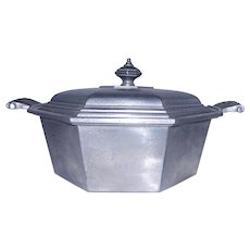 Vintage International Silver Co. Octagon Silver Pewter Covered Casserole Dish With Lid