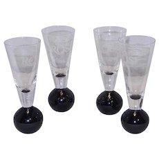 Vintage Tequila Rose Bubble Base Shot Glasses