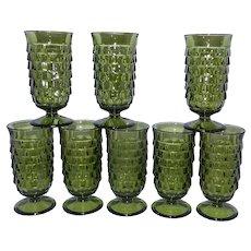 Vintage Indiana Whitehall Green Cubic Parfait Glasses
