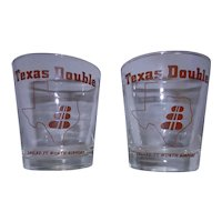Vintage Texas Double Glass from Dallas Fort Worth Airport