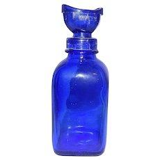Vintage #2 Wyeth Cobalt Blue Collyrium Medicated Bottle with Eye Wash Cup