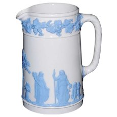 Vintage Wedgwood of Etruria & Barleston Embossed Queen's ware Blue On White Pitcher