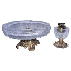 Vintage Crystal Glass Table Lighter and Ashtray