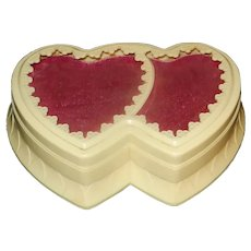Vintage 1940s-1950s Ivory Celluloid Double Heart Jewelry Presentation Box from Crosby Jewelers with Padded Ruby Red Velvet Top