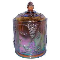 Vintage Indiana Harvest Iridescent Gold Carnival Glass Canister