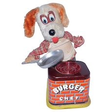 Vintage Mid-Century Yonezawa #213 Burger Chef Dog Tin Toy