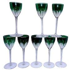 Vintage Baccarat Set of 8 Emerald Green Rhine Wine Glass Genova Cut