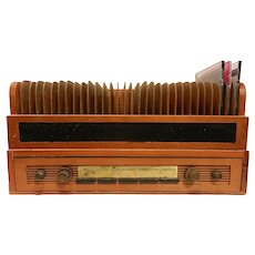 Vintage Old Radio Designed Wood CD Storage Case with Drawer