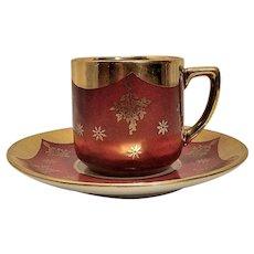 Vintage Bavarian Porcelain Demitasse Tea Cup & Saucer by Winterling in Garnet and Gold - Circa 1950s